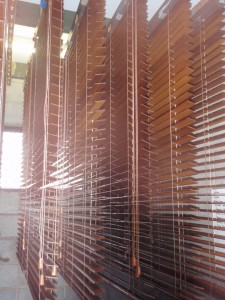 timber blinds waiting to dry