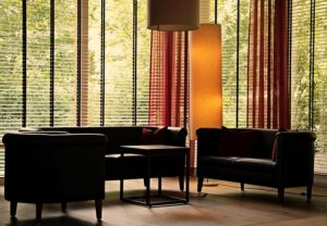 Living Room with Sofa Set and Blinds