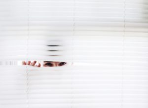 Peeping from blinds